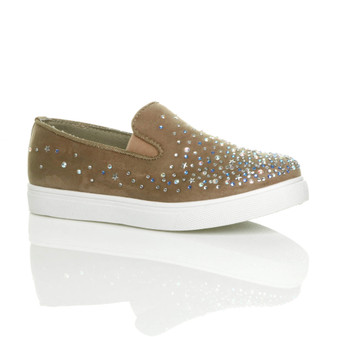 Front right side view of Beige Suede Flat Diamante Plimsolls Trainers