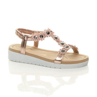 Front right side view of Rose Gold PU Low Wedge Heel Comfort Flatform Diamante Flower T-Bar Slingback Sandals