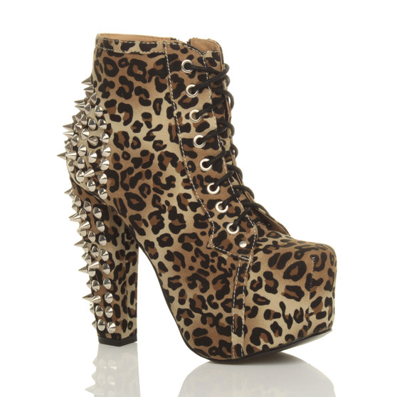 Front right side view of Leopard Suede High Heel Platform Studded Spike Ankle Boots