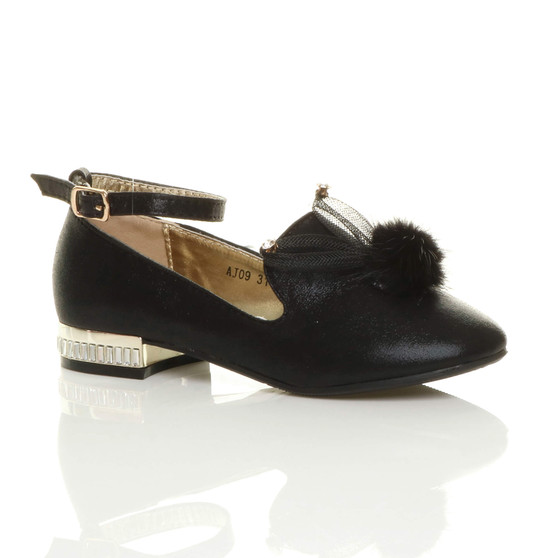 Front right side view of Black Bunny Ears Pom Pom Ankle Strap Loafers Shoes