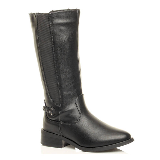 Front right side view of Black PU Low Heel Riding Chelsea Boots