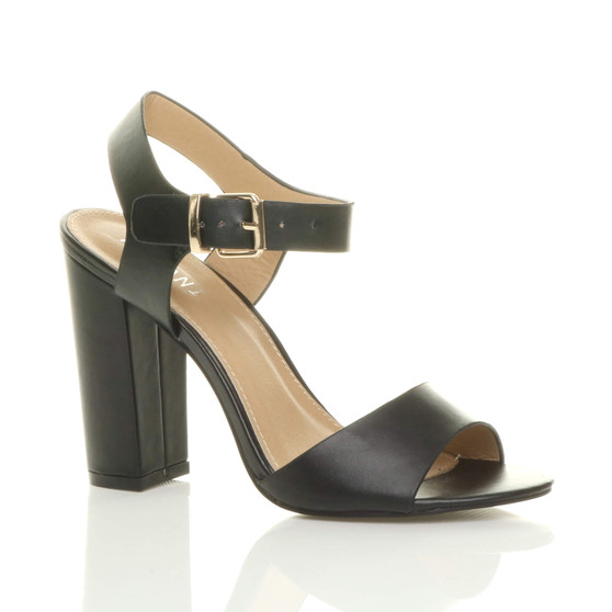 Front right side view of Black PU High Block Heel Sandals