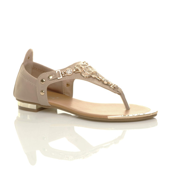 Front right side view of Beige Gold Trim Rose Diamante T-Bar Stretch Sandals