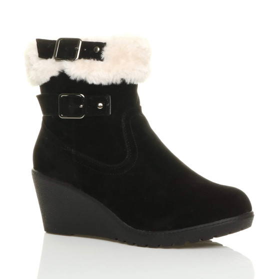 Front right side view of Black Suede Mid Heel Wedge Faux Fur Collar Ankle Boots