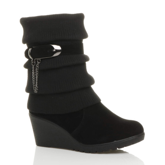 Front right side view of Black Suede Mid Heel Wedge Knitted Collar Slouch Ankle Boots