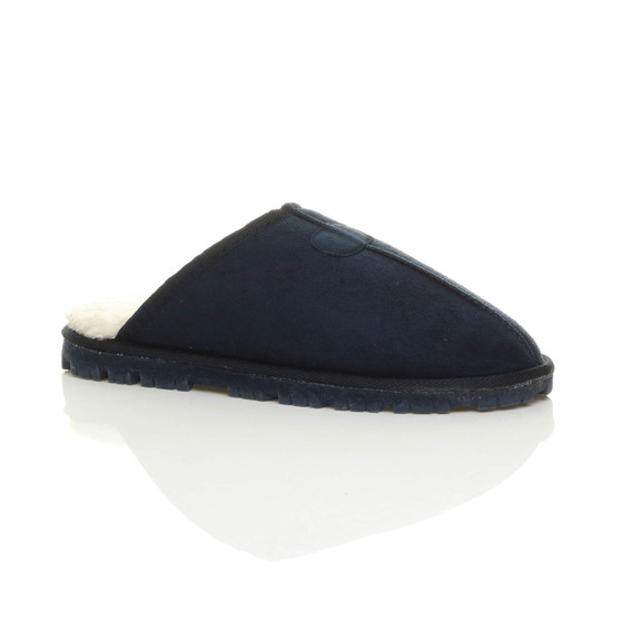 Front right side view of Navy Suede Flat Fur Lined Luxury Mules Slippers