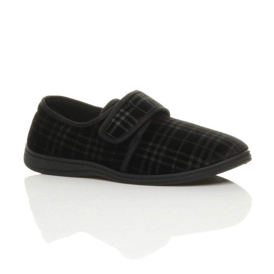 Front right side view of Black Check Adjustable Comfort Diabetic Orthopaedic Grip Sole Slippers House Shoes