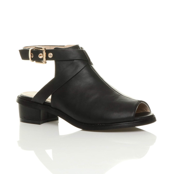 Front right side view of Black PU Mid Heel Peep Toe Ankle Boots Sandals