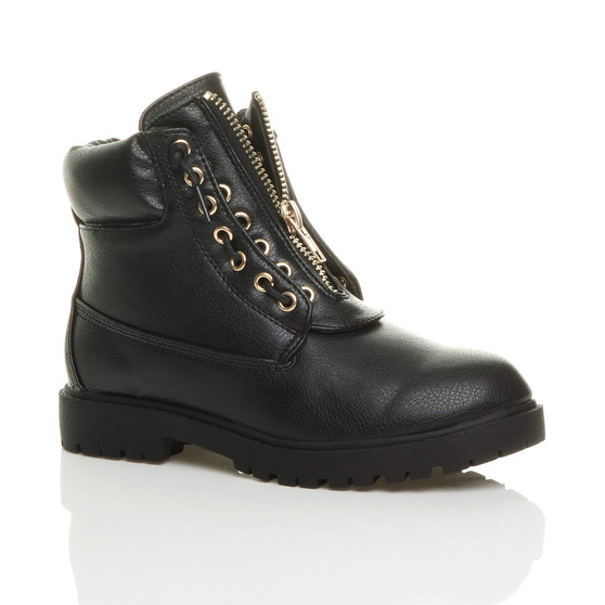 Front right side view of Black PU Flat Low Heel Gold Zip Biker Ankle Boots