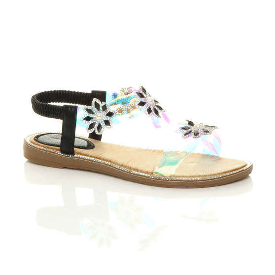 Front right side view of Black Flat Diamante Pearl Flower Perspex Slingback T-Bar Sandals