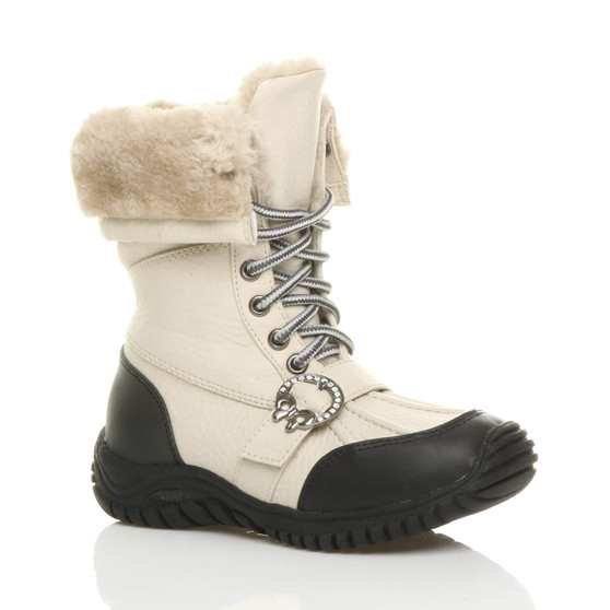 Front right side view of Beige PU Flat Winter Snow Calf Boots