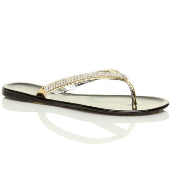 Front right side view of Black Flat Gold Diamante Jelly Flip Flops