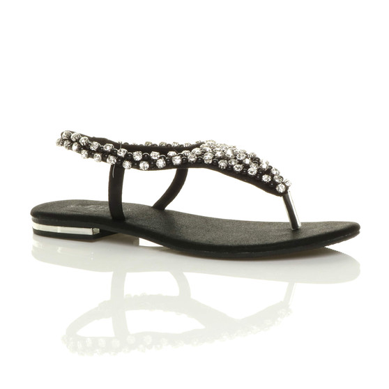Front right side view of Black Flat Beaded Diamante Slingback Toe Post Sandals