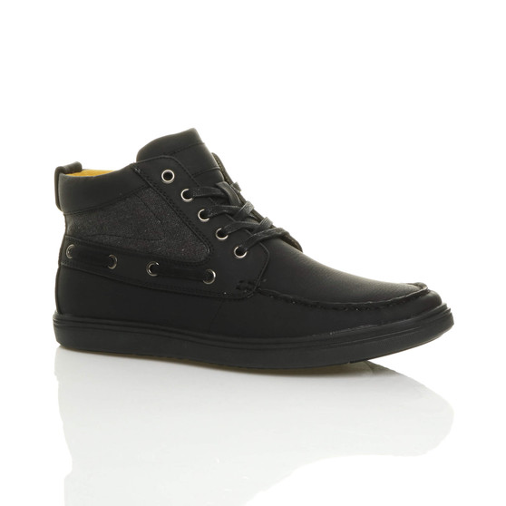 Front right side view of Black PU Flat Contrast Boat Hi-Top Trainers Ankle Boots