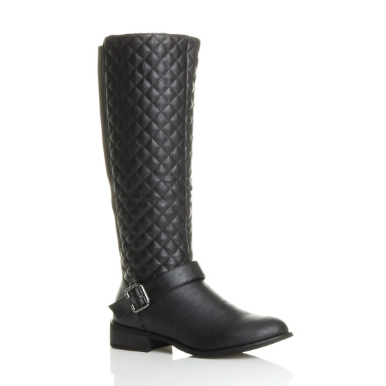Front right side view of Black PU Low Heel Quilted Knee Riding Boots