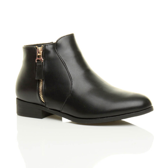 Front right side view of Black PU Low Heel Gold Zip Pixie Ankle Boots