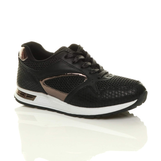 Front right side view of Black Chunky Glitter Lace Up Low-Top Trainers