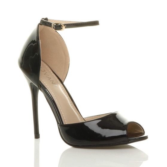 Front right side view of Black Patent High Heel Ankle Strap Stiletto Peep Toe Shoes Sandals