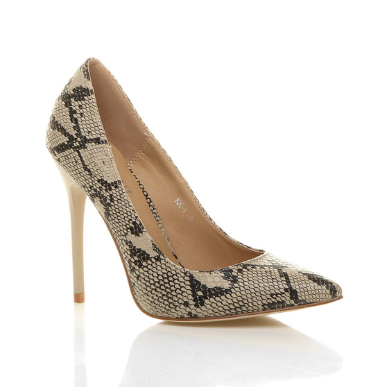 Front right side view of Beige Snake PU High Heel Pointed Court Shoes