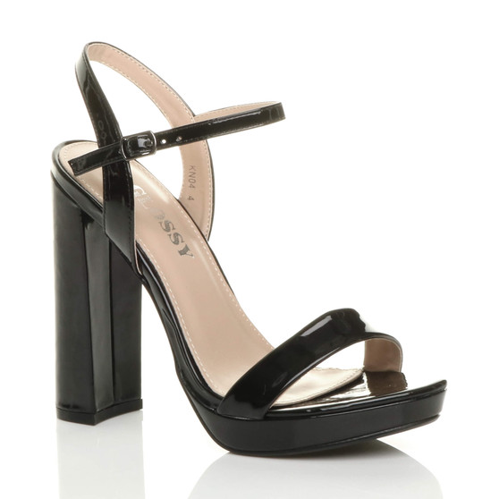 Front right side view of Black High Block Heel Ankle Strap Platform Barely There Sandals