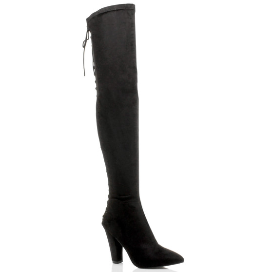 Front right side view of Black Suede High Block Heel Lace Up Corset Back Over The Knee Boots