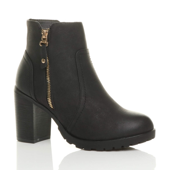 Front right side view of Black PU High Block Heel Gold Zip Biker Ankle Boots