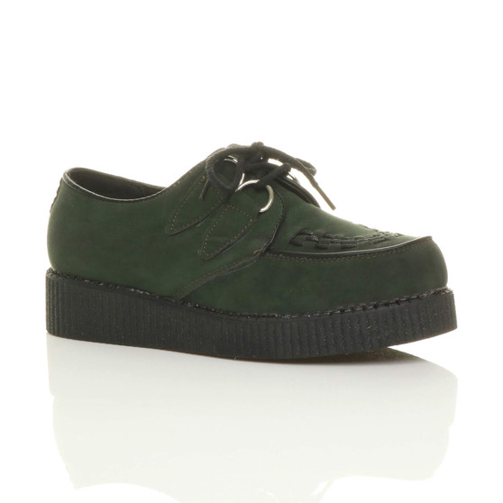 Front right side view of Green Suede Flat Wedge Platform Creepers Shoes