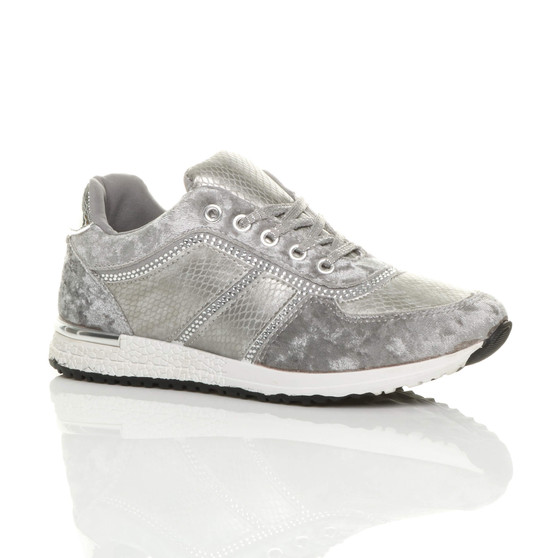 Front right side view of Grey Low Wedge Heel Velvet Diamante Trainers
