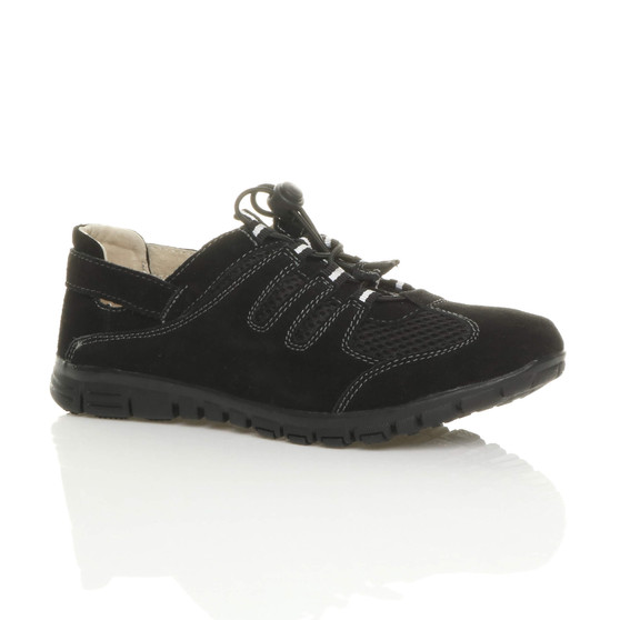 Front right side view of Black Cleated Slip On Leather Trainers Sneakers