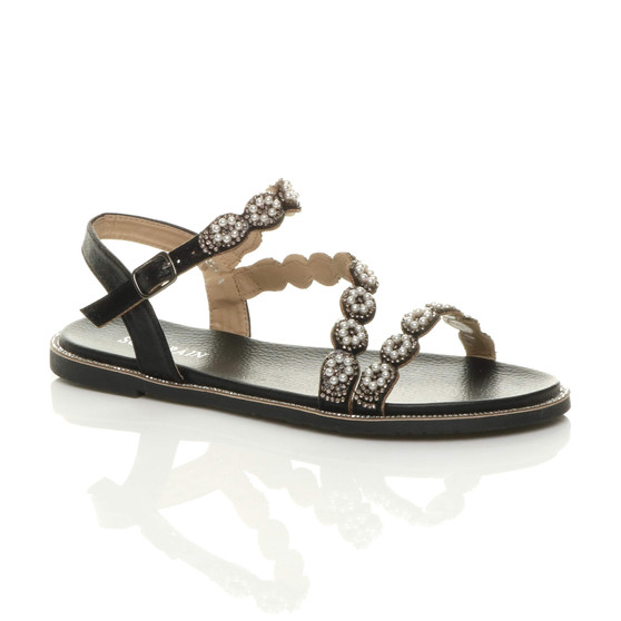 Front right side view of Black Flat Diamante Pearl T-Bar Strappy Sandals