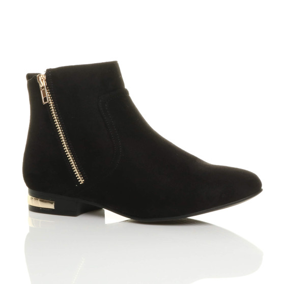 Front right side view of Black Suede Flat Low Heel Gold Zip Ankle Boots