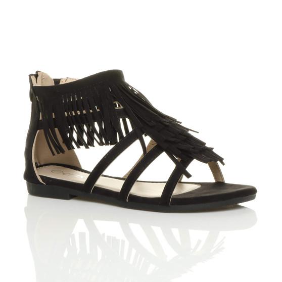 Front right side view of Black T-Bar Tassel Fringe Gladiator Sandals