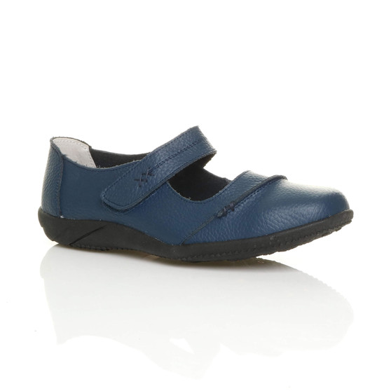 Front right side view of Navy Flat Comfort Mary Jane Shoes