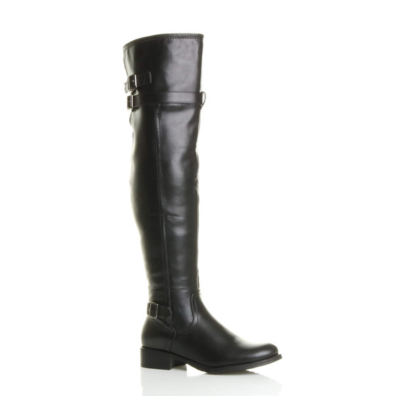 Front right side view of Black PU Low Heel Biker Over The Knee Boots