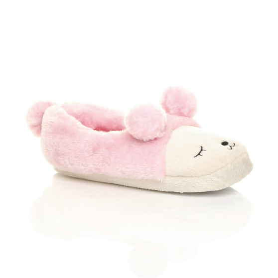 Front right side view of Baby Pink Fur Flat Faux Fur Pom Pom Bear Face Slippers