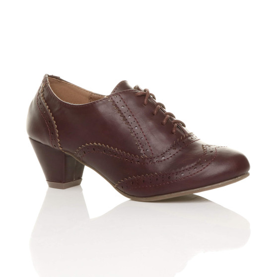 Front right side view of Burgundy PU Mid Heel Brogue Shoe Boots