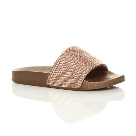 Front right side view of Rose Gold Flat Diamante Flip Flops Sliders Sandals
