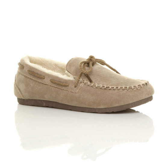 Front right side view of Beige Suede Fur Lined Luxury Flexible Moccasins Slippers