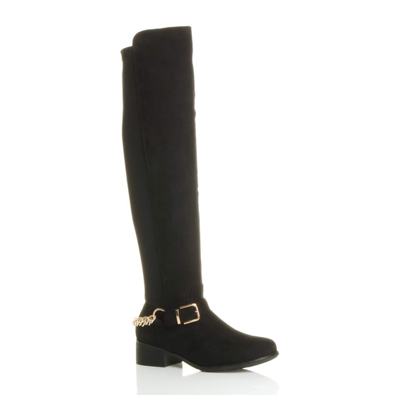 Front right side view of Black Suede Low Heel Gold Chain Stretch Over The Knee Boots