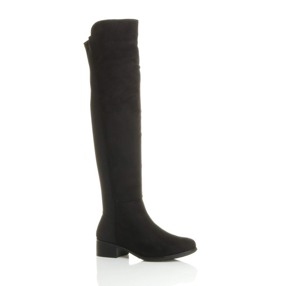Front right side view of Black Suede Low Heel Stretchy Over The Knee Boots