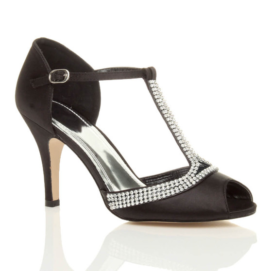 Front right side view of Black Satin High Heel Diamante T-Bar Sandals