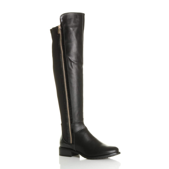 Front right side view of Black PU Contrast Snake Gold Zip Stretch Knee High Boots