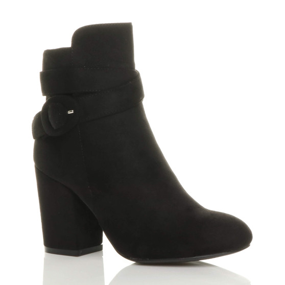 Front right side view of Black Suede High Block Heel Buckle Riding Ankle Boots