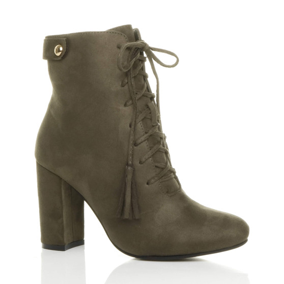 Front right side view of Khaki Suede High Block Heel Lace Up Tassel Ankle Boots