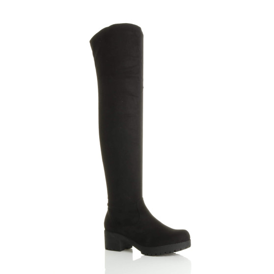 Front right side view of Black Suede Mid Heel Stretch Over The Knee Boots