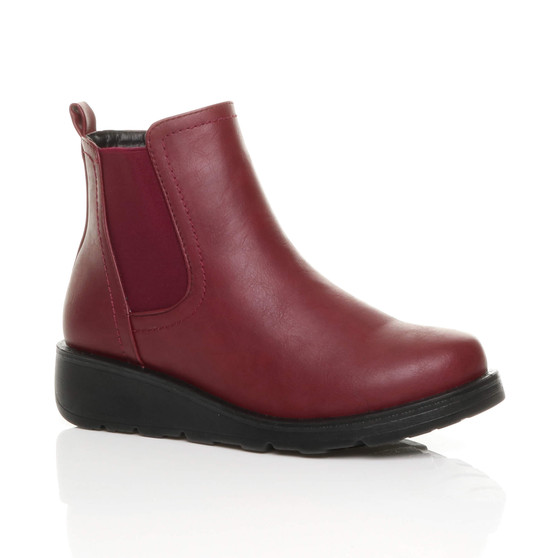 Front right side view of Burgundy PU Low Wedge Heel Chelsea Comfort Ankle Boots
