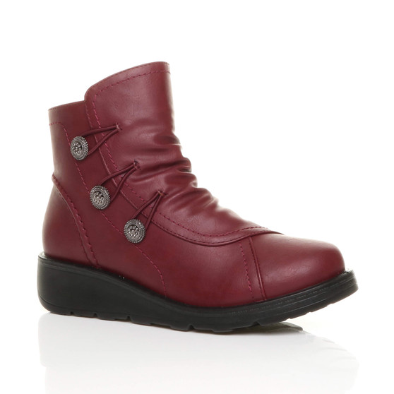 Front right side view of Burgundy PU Low Wedge Heel Button Comfort Ankle Boots