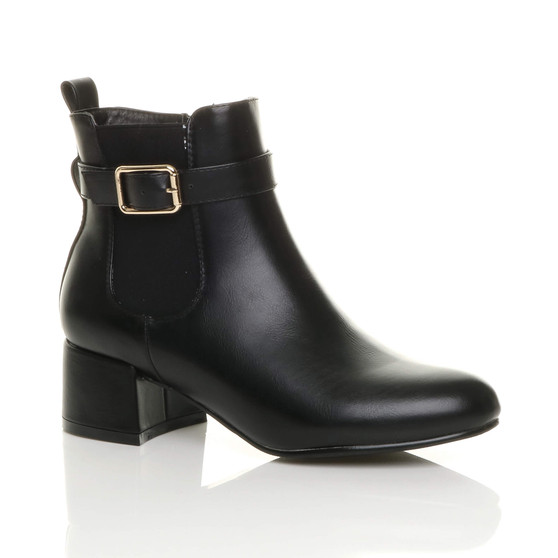 Front right side view of Black PU Low Mid Heel Gold Buckle Smart Zip Chelsea Boots