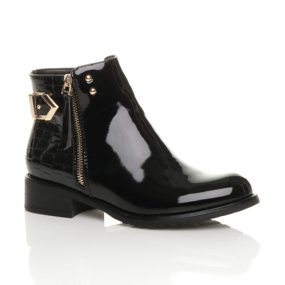 Front right side view of Black Patent Low Heel Gold Zip Contrast Buckle Smart Ankle Boots