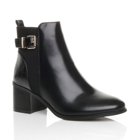 Front right side view of Black PU Mid High Block Heel Croc Smart Buckle Zip Chelsea Ankle Boots